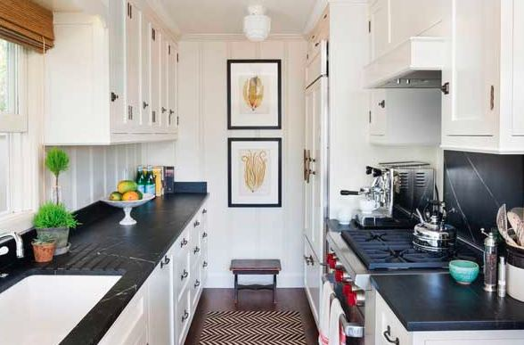 A Galley kitchen layout has two parallel countertops with a walkway in between them