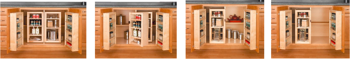 Base cabinet swing-outs create tons of storage in a new kitchen