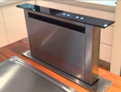 A remodeled kitchen with downdraft venting