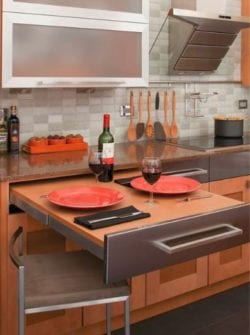 A pull-out table adds extra work and seating space in your new kitchen