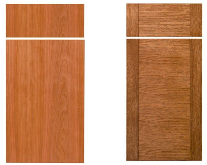 Examples of two different slab door and drawer treatments that can be installed in a new kitchen