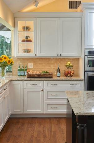 white painted cabinets in transitional Shaker style