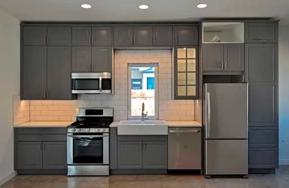 With one-wall kitchen designs all work areas and appliances are along one wall
