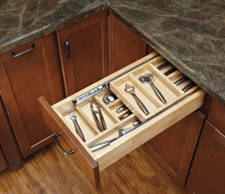 A double stack silverware drawer insert will double your available storage