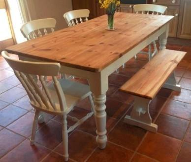 A classic farmhouse table is a must-have for people who want an authentic farm-style kitchen look