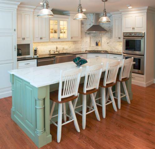 An island is a stylish addition to a farm-style kitchen