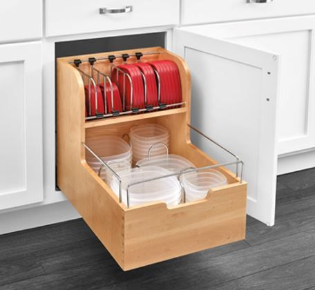 Storage container organizer keeps lids and containers organized