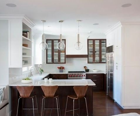 The G-shaped kitchen layout features a countertop tail like a capital letter G that juts out